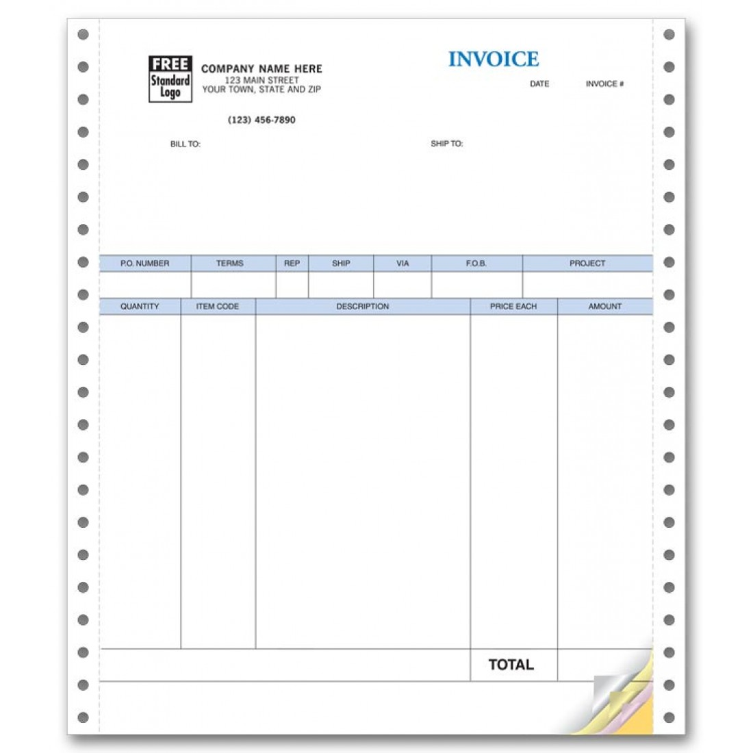 Continuous Product Invoice with Packing List compatible with QuickBooks
