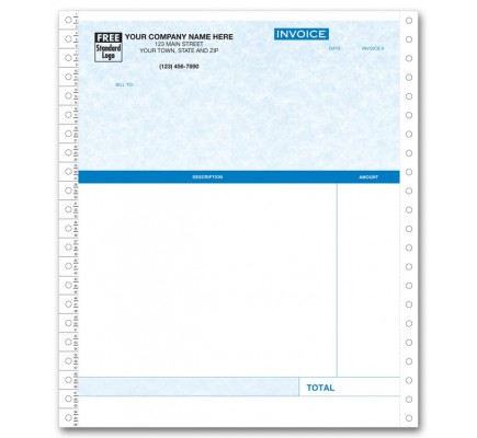 Continuous Professional Invoice - Parchment compatible with QuickBooks