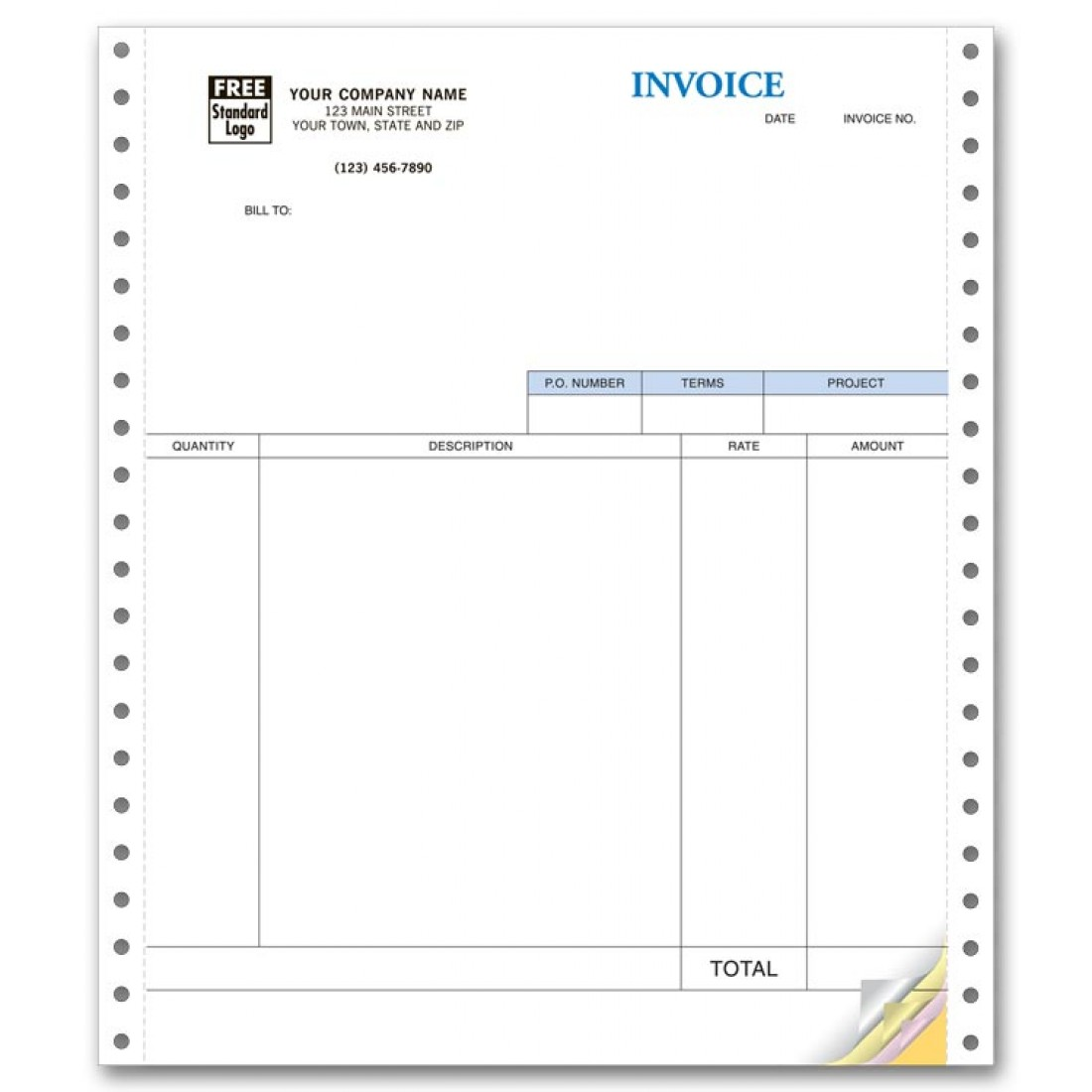 Continuous Service Invoice compatible with QuickBooks