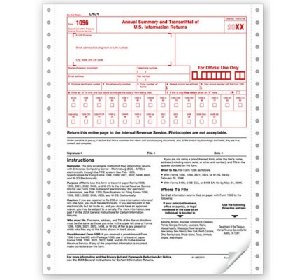 Continuous Tax Form 1096 Summary & Transmittal Sheet