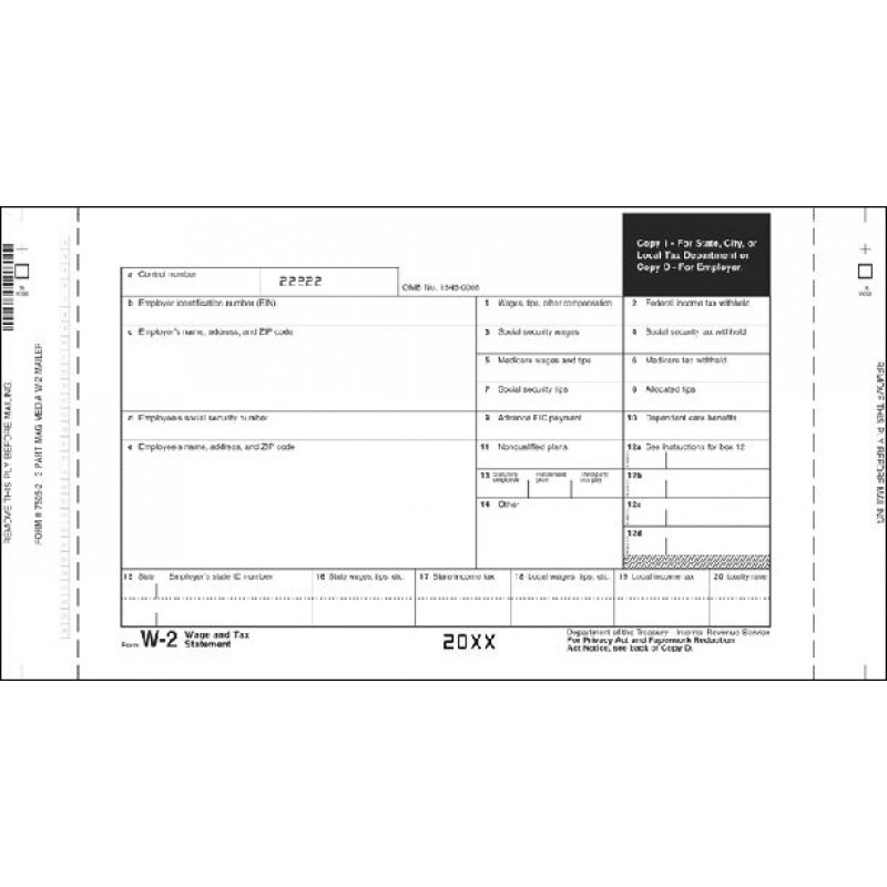 Continuous W-2 Tax Forms - Mailer With Indicia