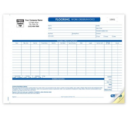 Custom Flooring Work Order Forms Con At Print Ez