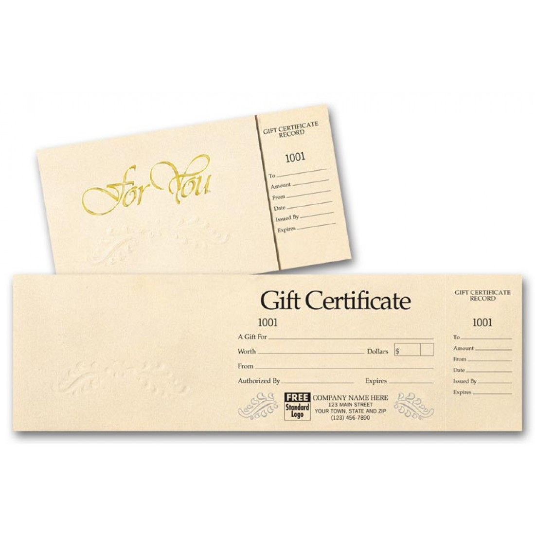 custom pre printed gift certificates free shipping