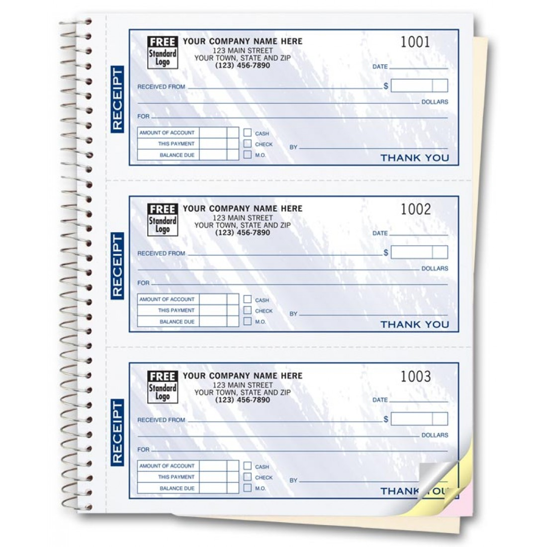 custom receipt books color collection free shipping