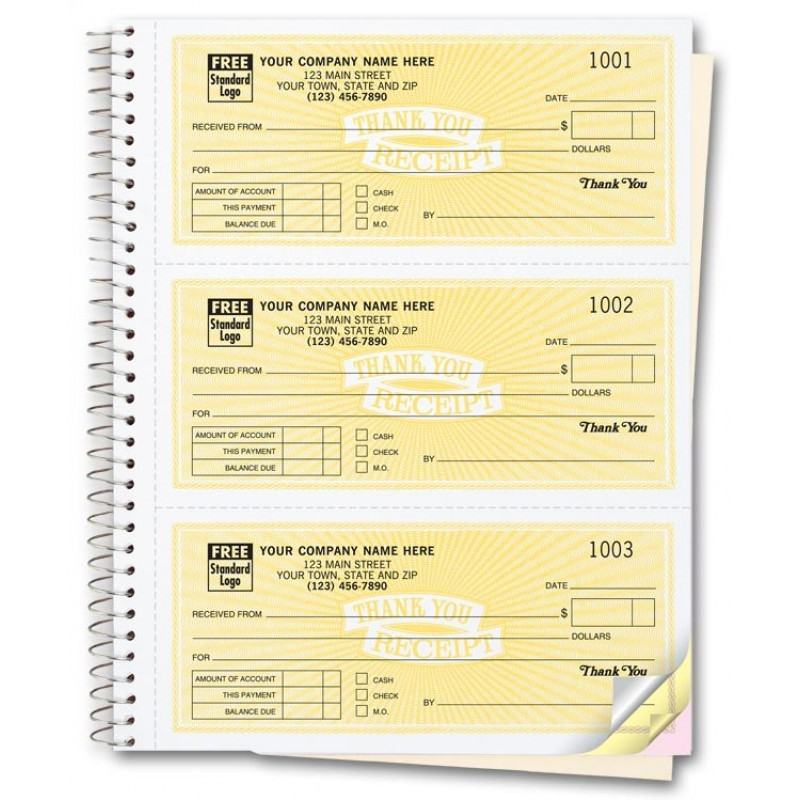 custom receipt books free shipping