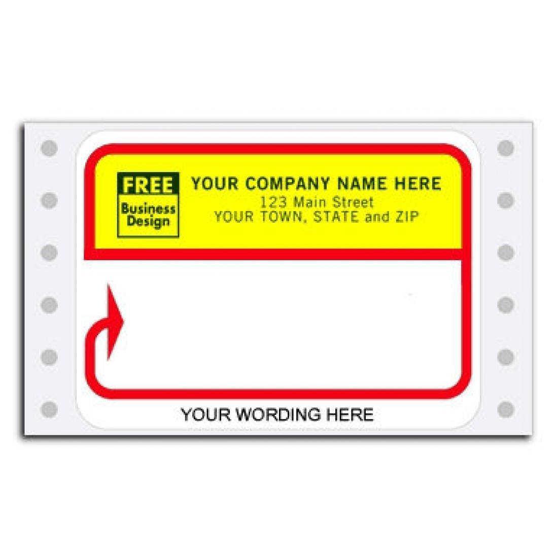 D213, Continuous Mailing Label, Red/Bight Yellow