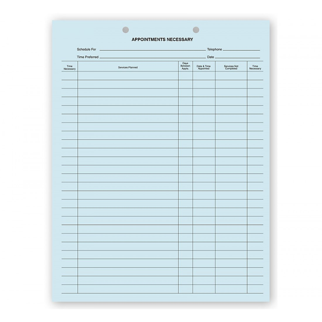 Dental Appointments Necessary Forms 2 Hole Punch Blue Bond
