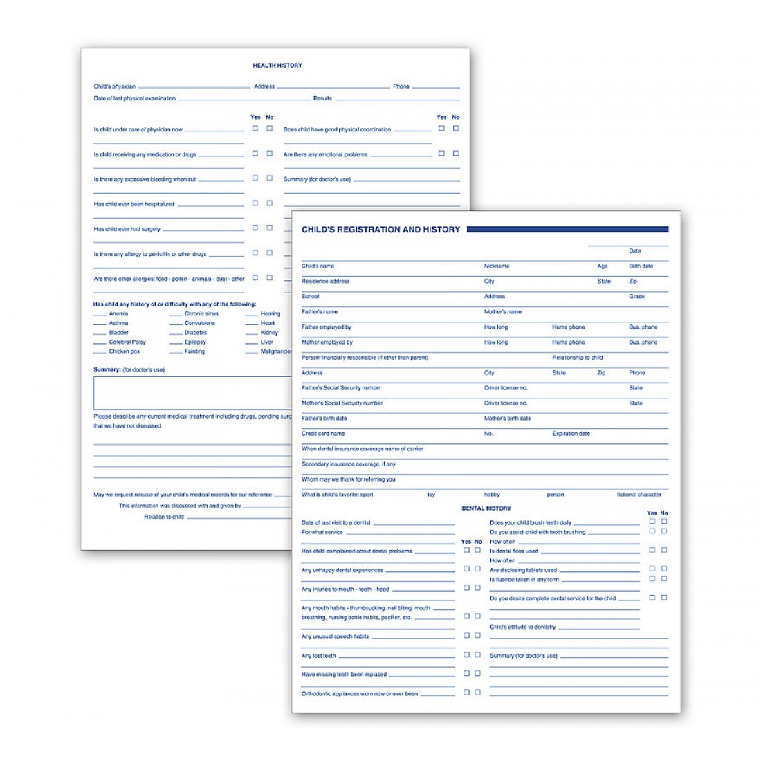 Dental Child Registration And History Forms 2 Sided