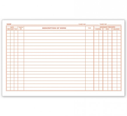 Dental Continuation Exam Records,2 Sided, Card Style