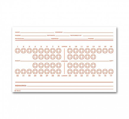Dental Exam Card File Record Numbered Teeth System C - D74C
