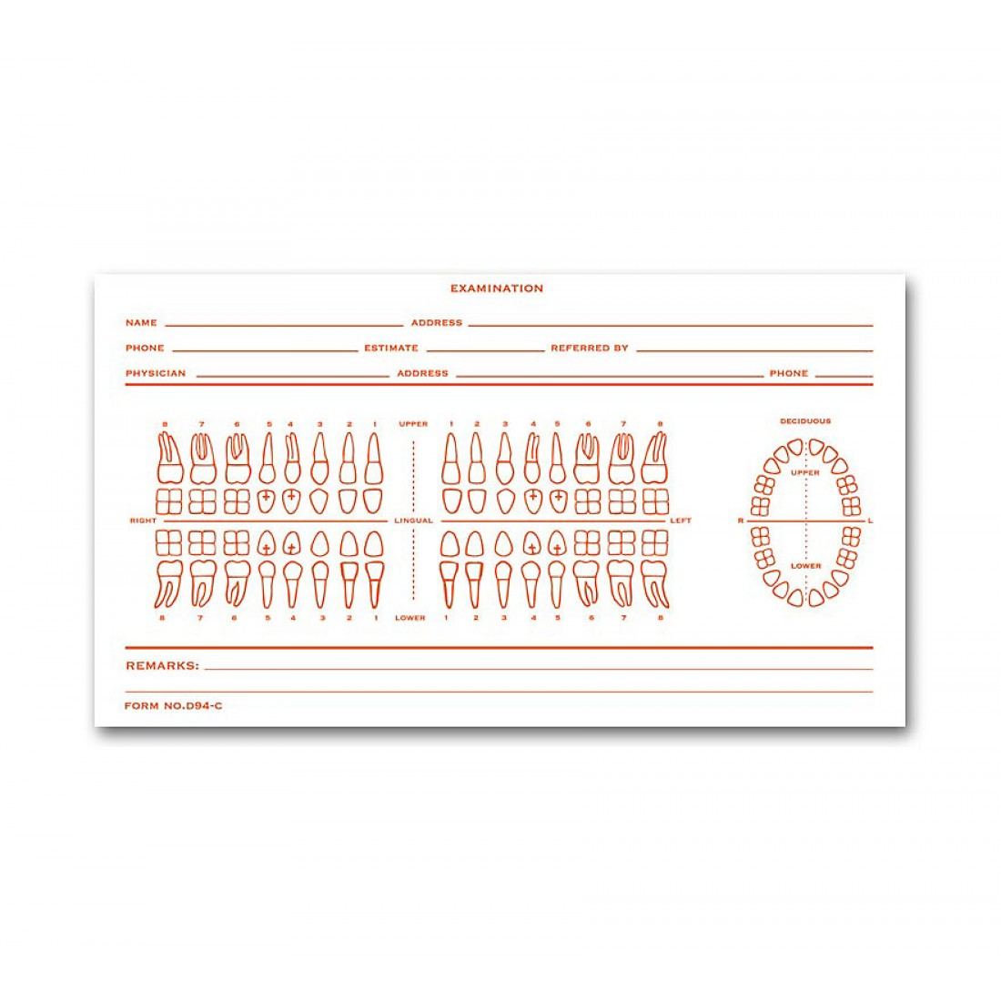 Dental Exam Card File Record Numbered Teeth System C