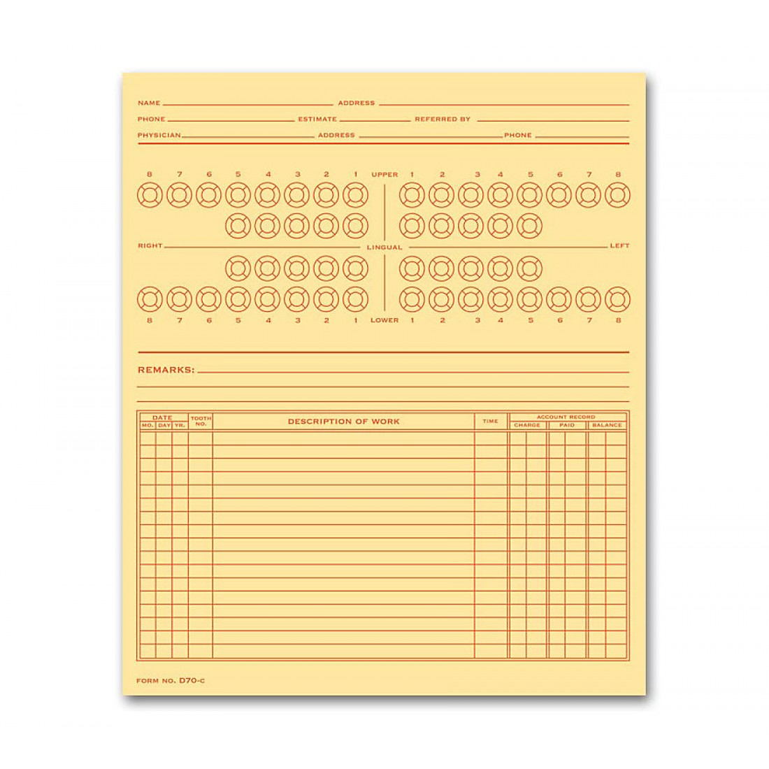 Dental Exam Record Numbered Teeth System B Folder Style