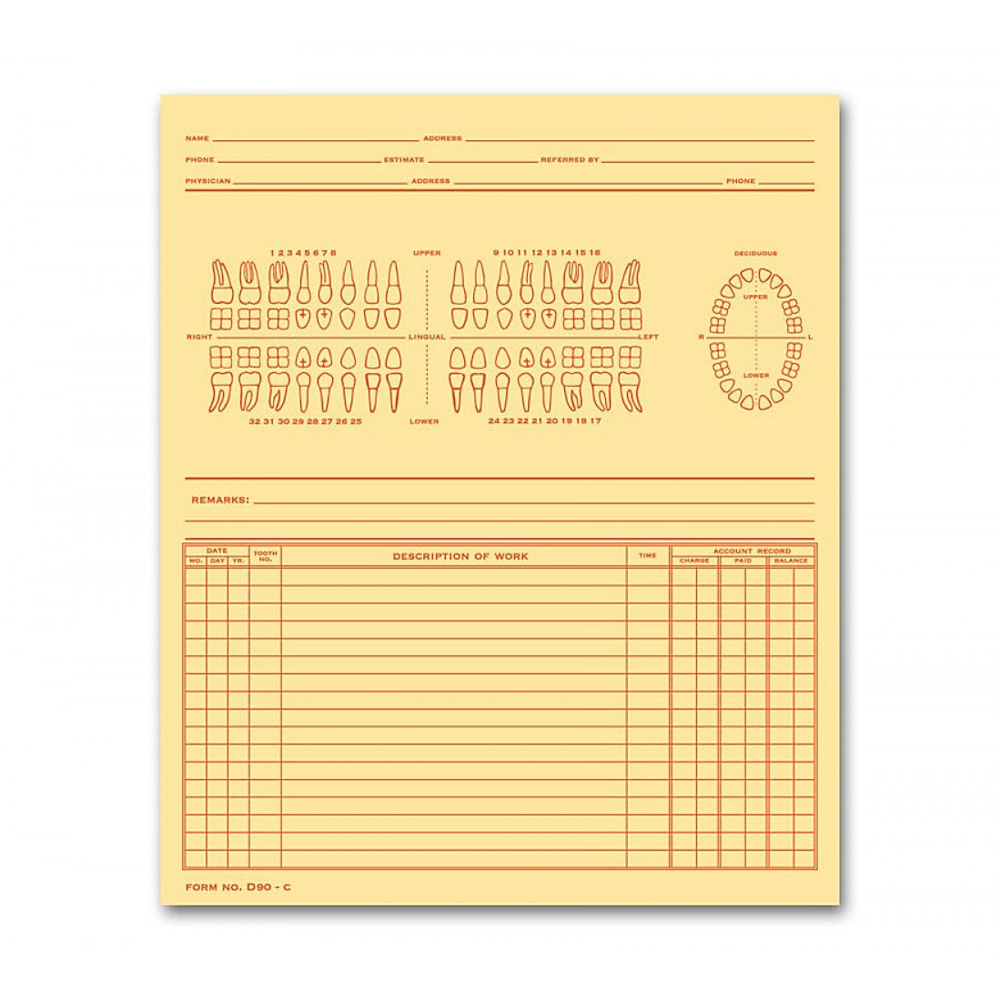 Dental Exam Record Numbered Teeth System C Folder Style - D90C