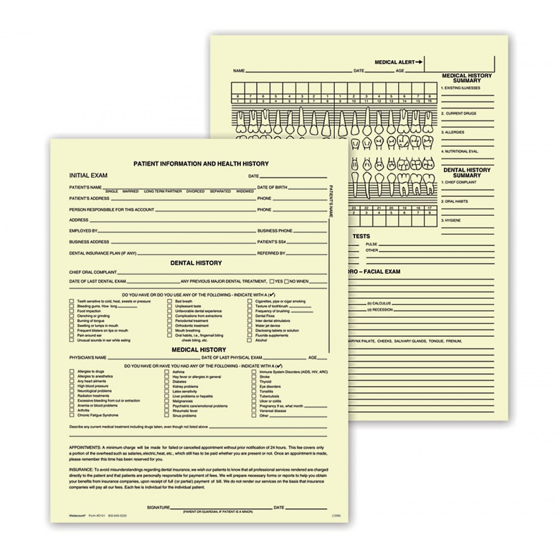 Dental Exam Record Single Sheet