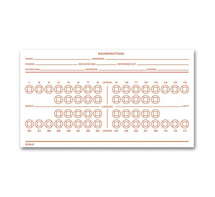 Dental Exam Record Slips Numbered Teeth System C - D76C
