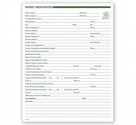 Dental Patient Registration Forms 1 Sided No Hole Punch