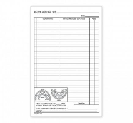 """Dental Patient Treatment Form 5.5"""" X 8.5"""""""