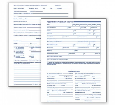 Dental Registration And Health History 2 Sided Card File F