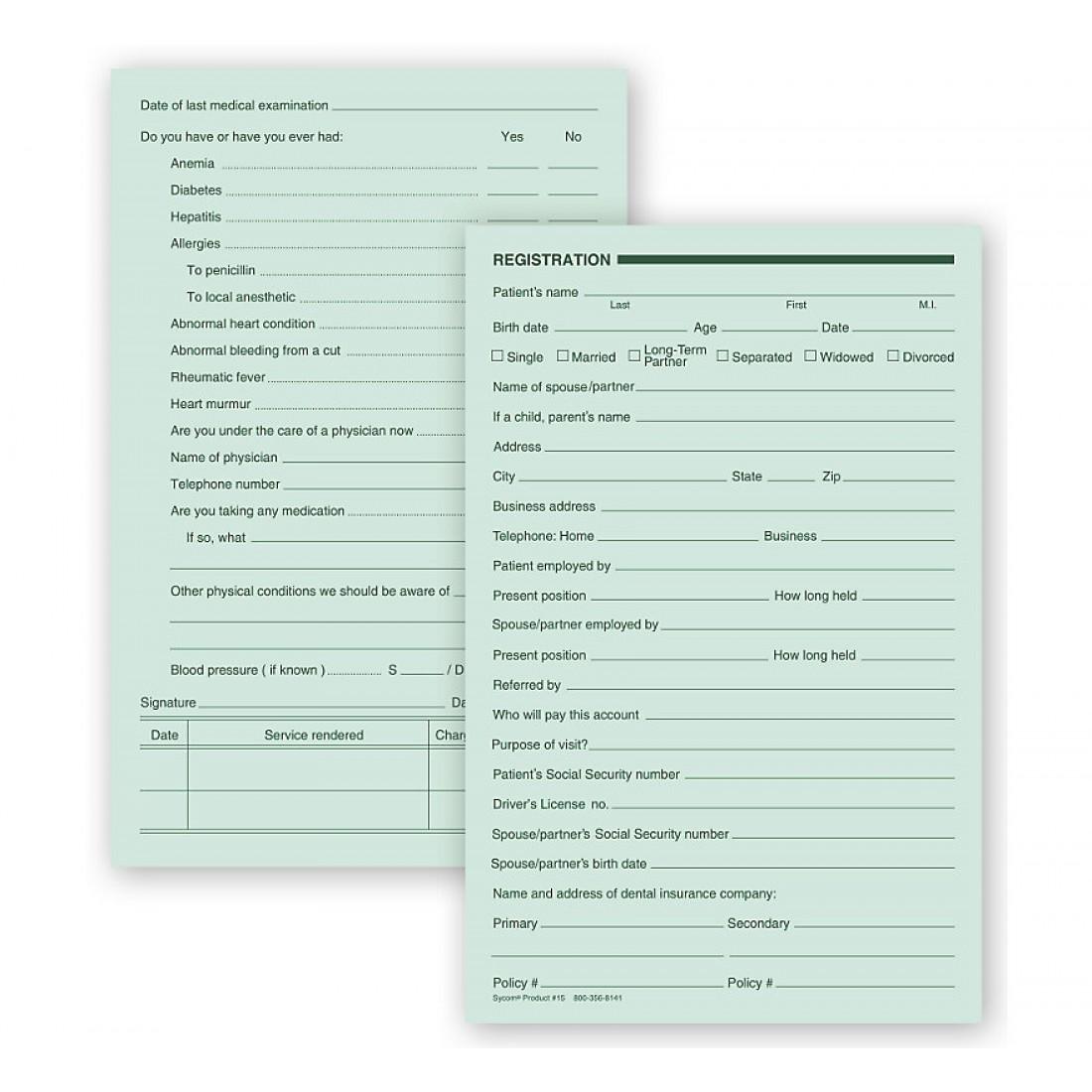 Dental Registration Forms Two Sided Green Ledger