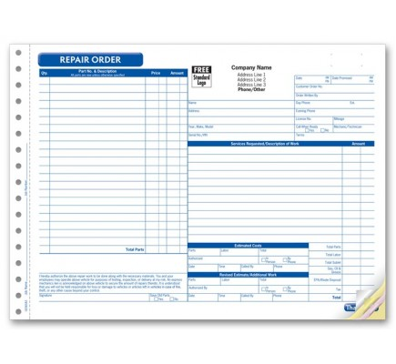 Detailed Repair Order Forms