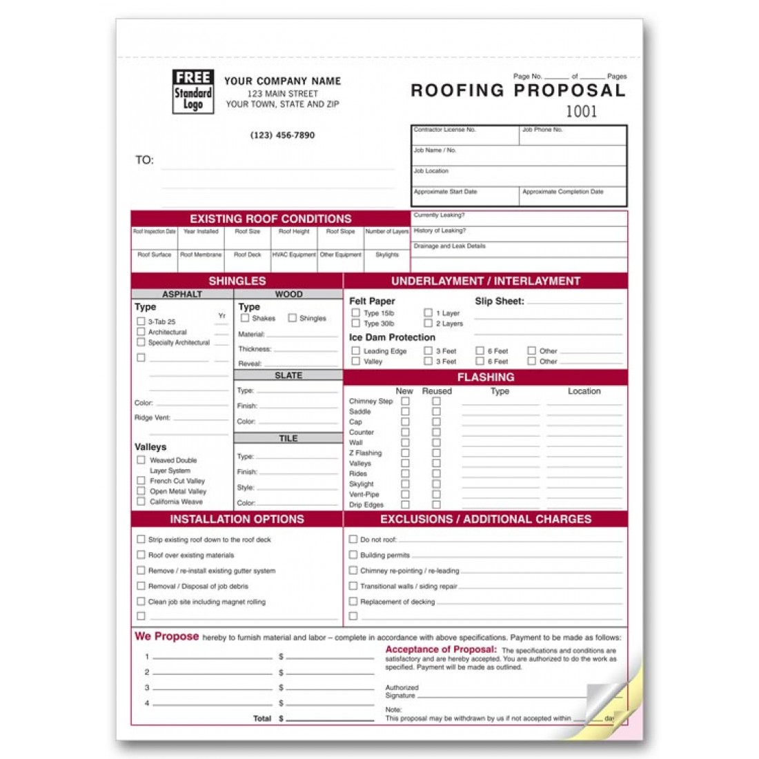 Detailed Roofing Proposal Forms