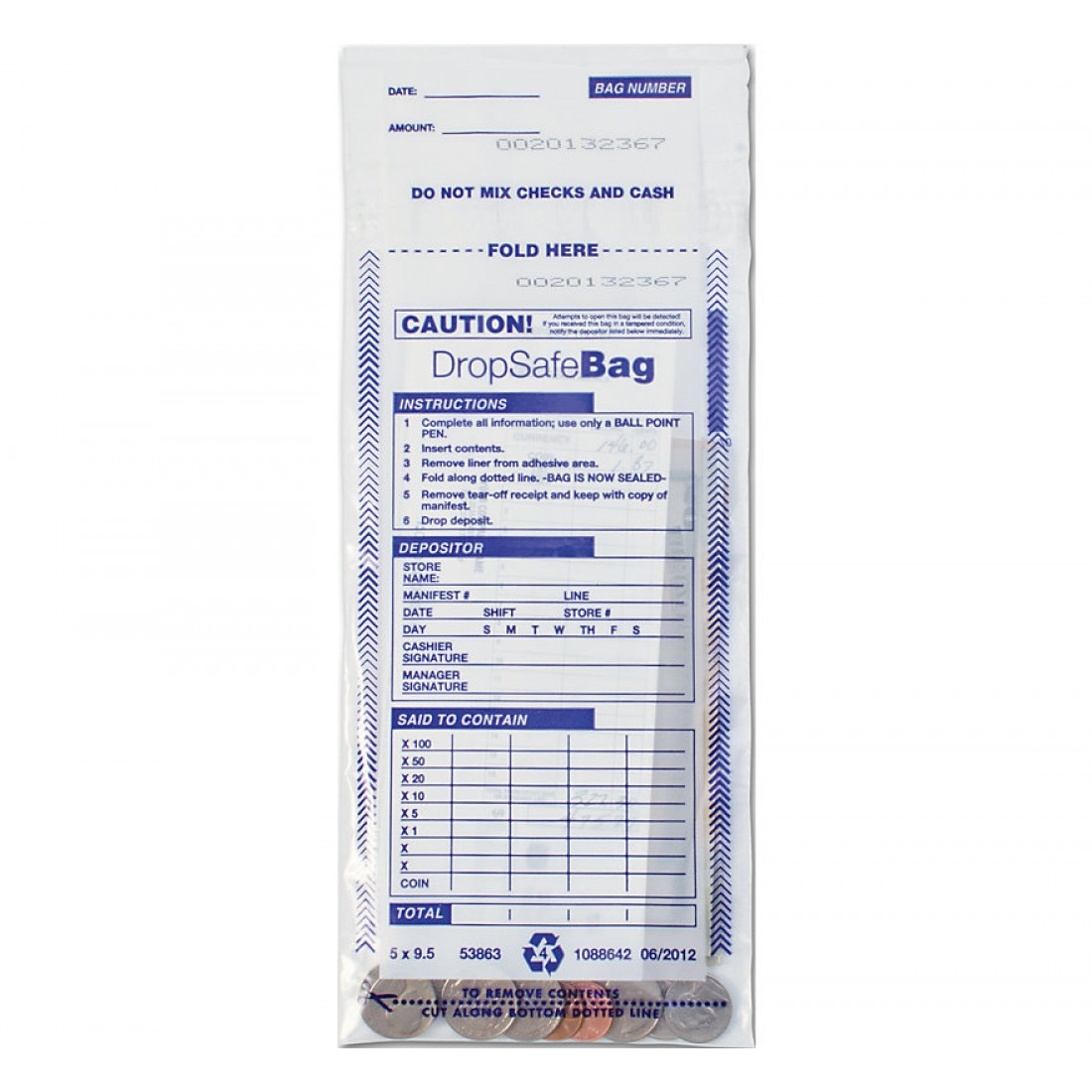 Drop Safe Style Deposit Bag Clear
