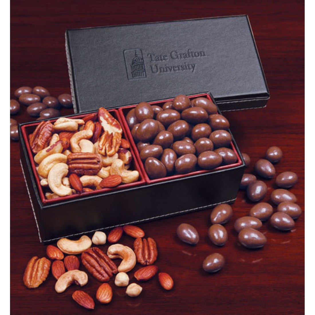 Faux Leather with Chocolate Covered Almonds & Deluxe Mixed Nuts LB1008 ...