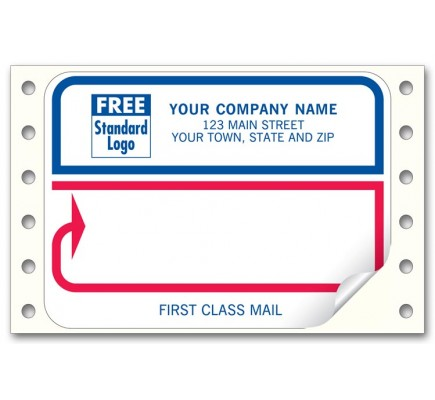 First Class Red and Blue Labels