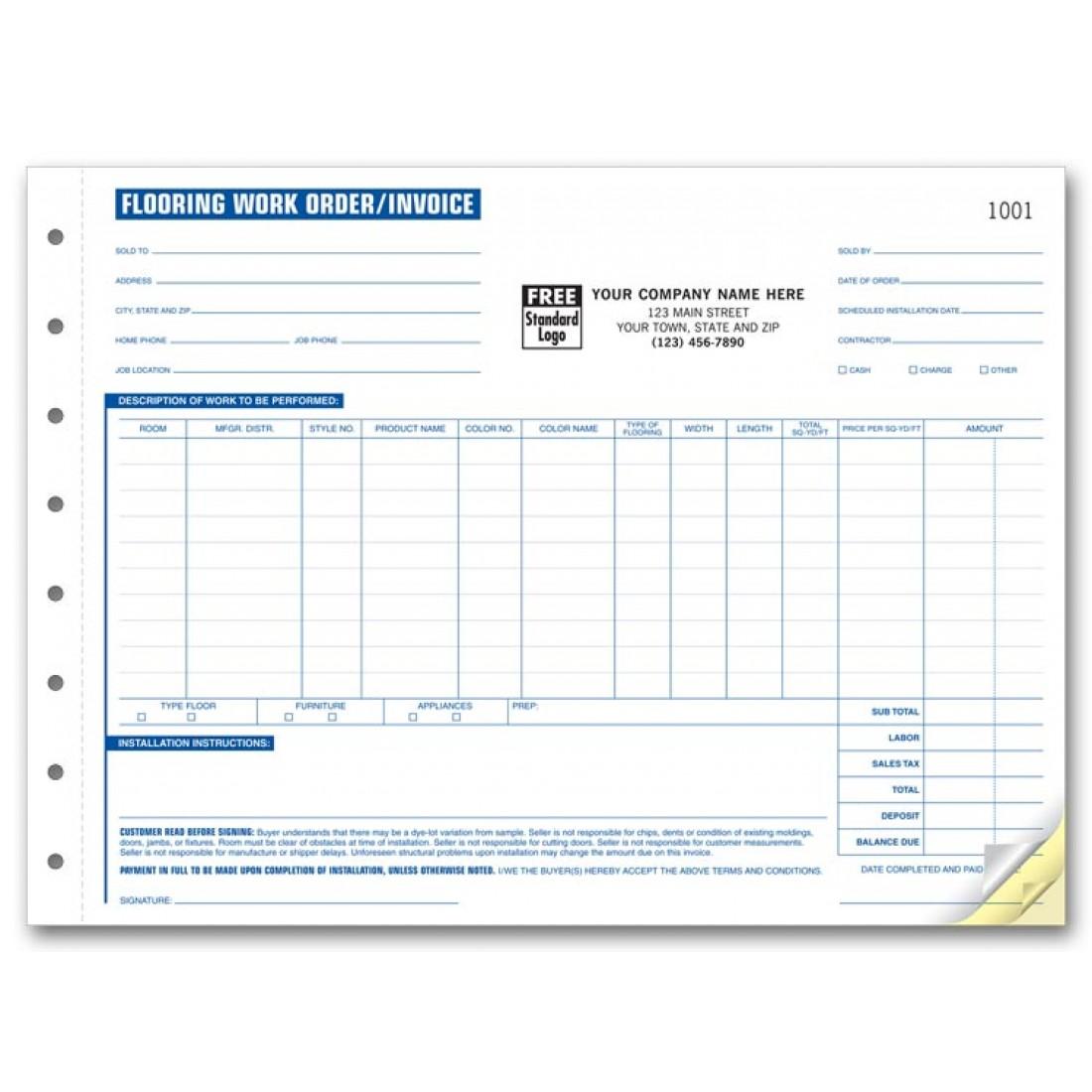 Flooring Work Order Forms