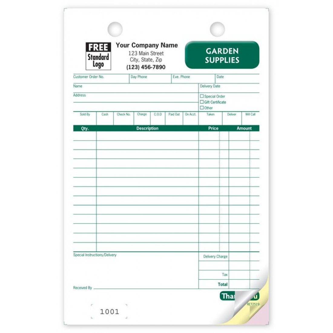 Garden Supplies Register Forms
