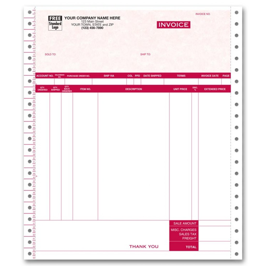 General Continuous Invoice - Parchment
