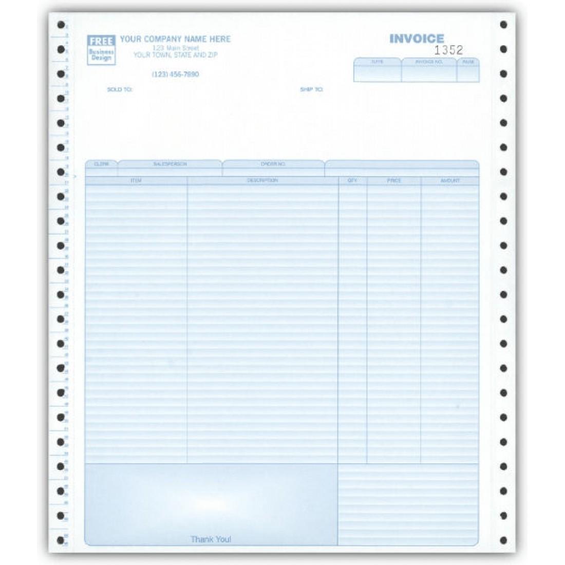 General Continuous Invoice, 3-Part