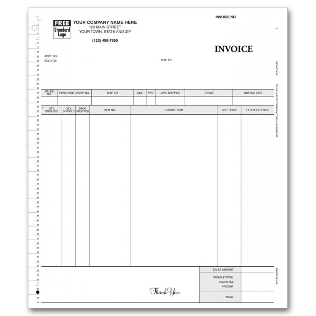 General Continuous Invoice, 3-Part
