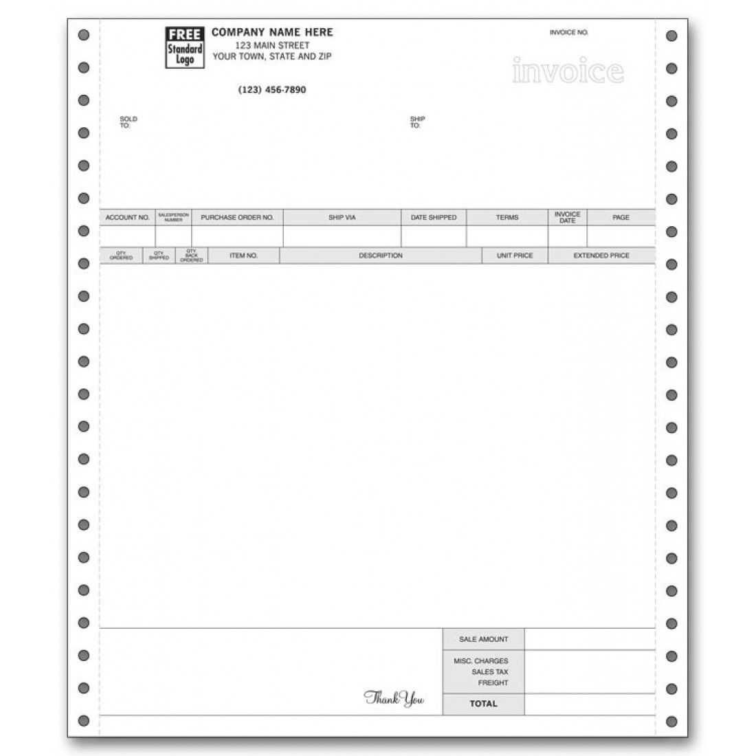 General Continuous Invoice for RealWorld & Great Plains