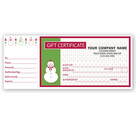 Gift Certificates, Holiday Merry Snowman