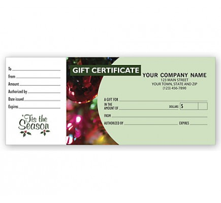 Gift Certificates, Holiday Ornament