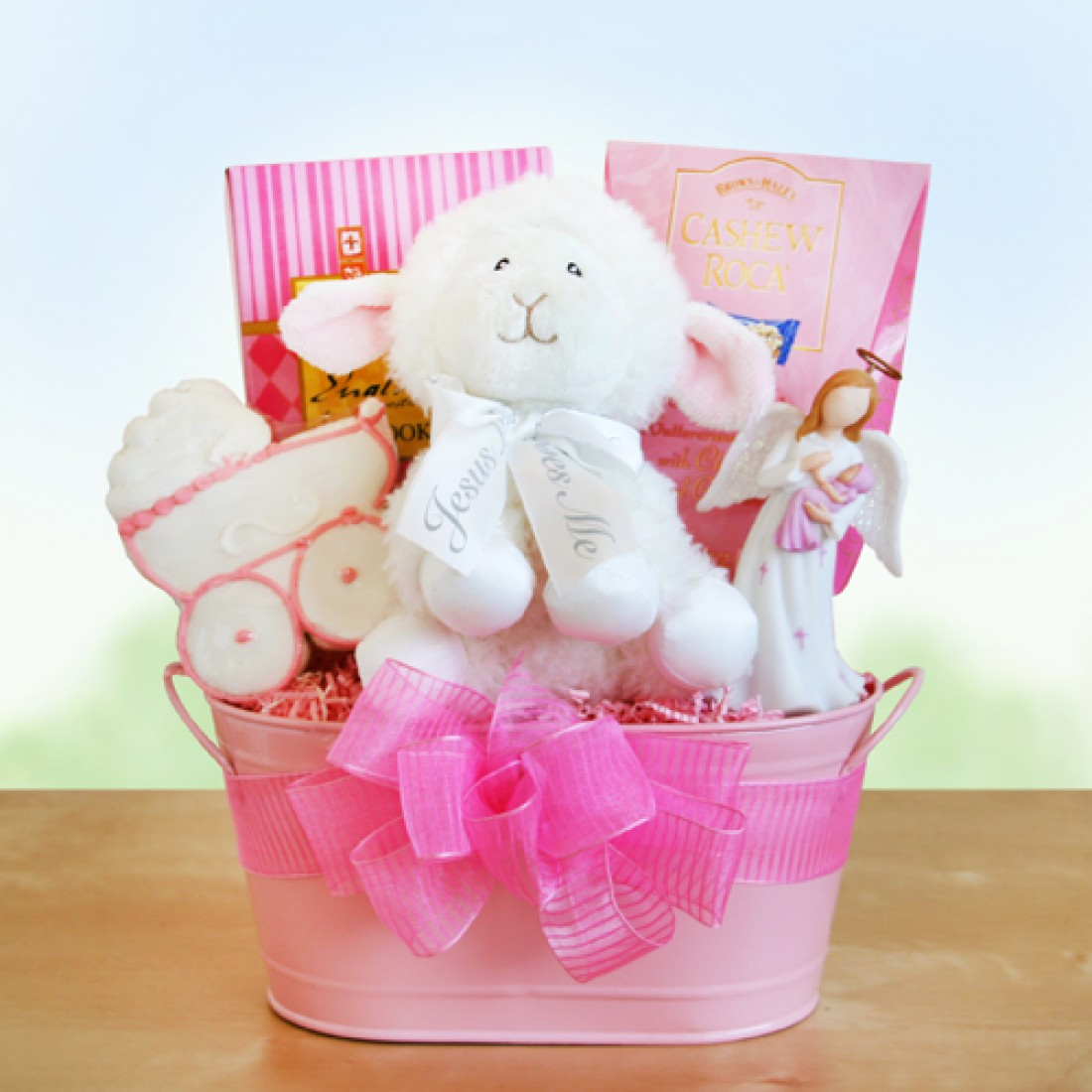 Baby Gift Baskets For Girl : Girl christening baby gift baskets free shipping