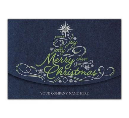 Glistening Green Christmas Cards