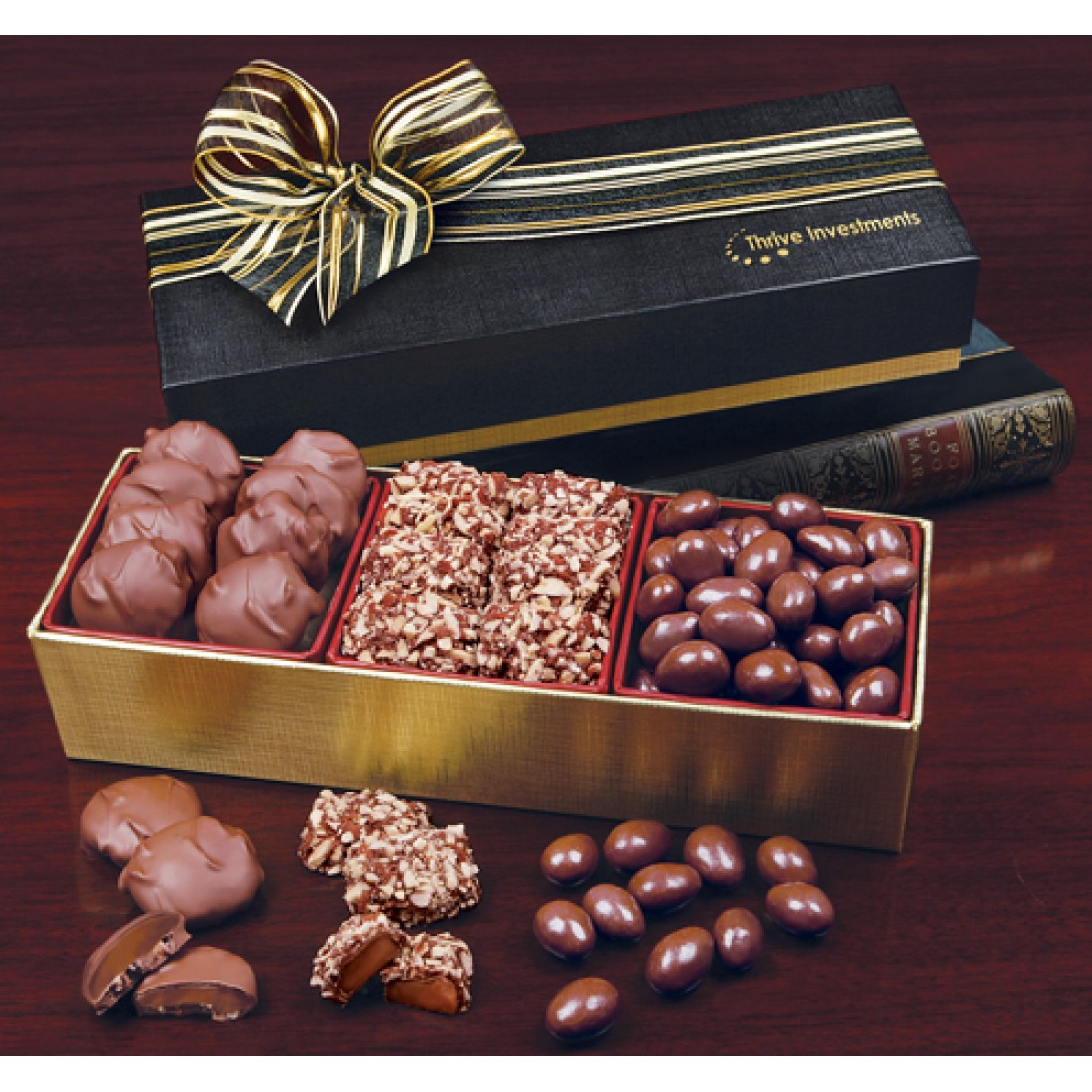 Premium Chocolate Gift Boxes : Gold black gift boxes with premium chocolate trio gb