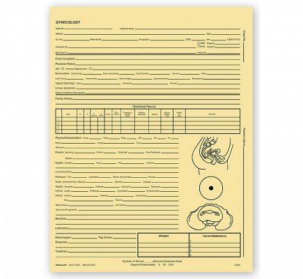 Gynecology Exam Records Two Sided Letter Style Buff