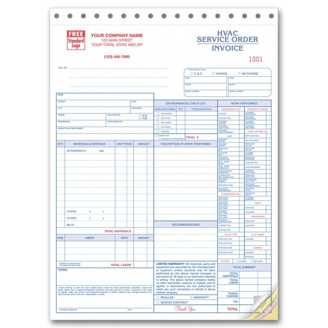 HVAC Service Invoice Forms Free Shipping - Invoice for work performed