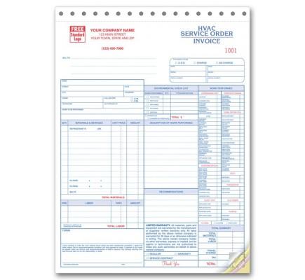 HVAC Service Invoice Forms