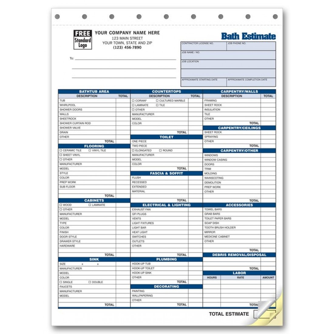 Detailed labor and parts auto estimate forms 5537 at print for Bathroom estimate
