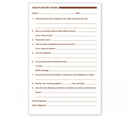Health History Update Forms