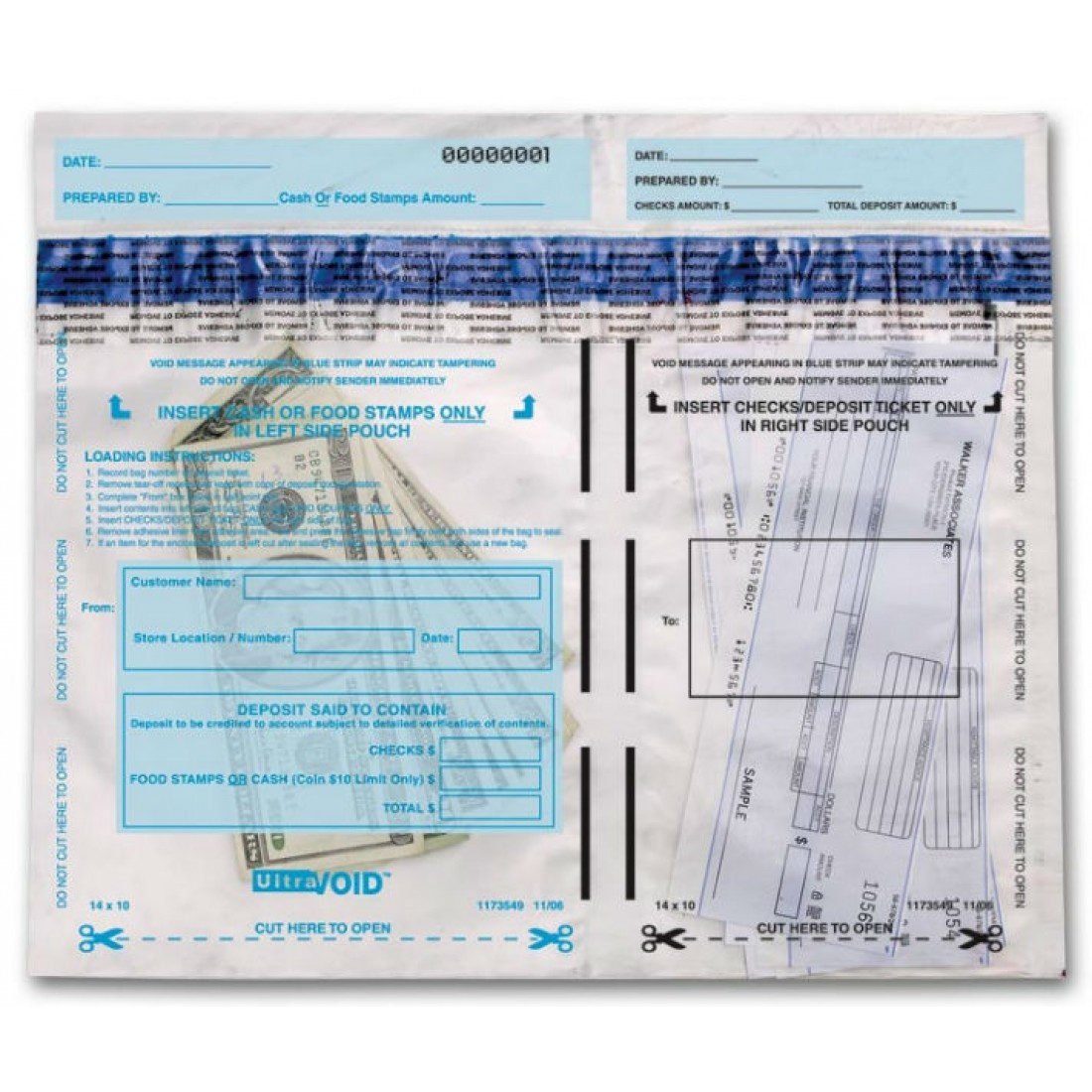 Horizontal Dual-Pocket Cash Deposit Bags (53859) - Deposit Slips  - Business Checks