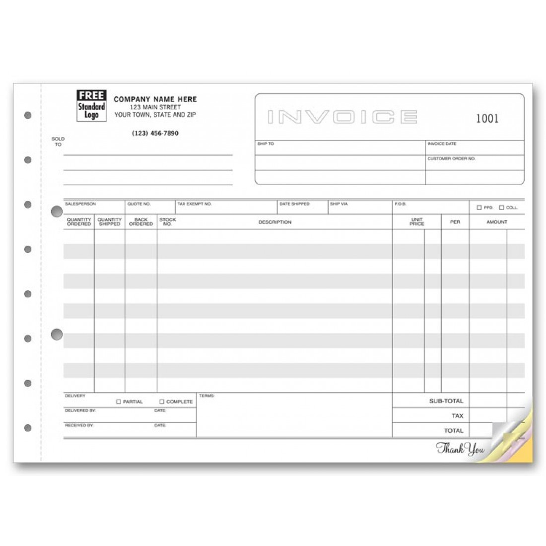 horizontal shipping invoice forms free shipping