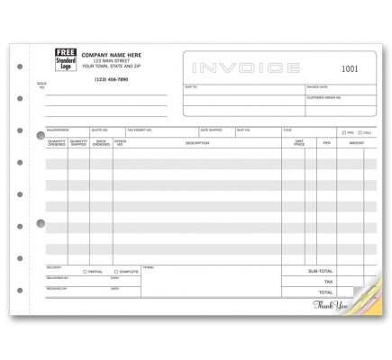Horizontal Shipping Invoice Forms