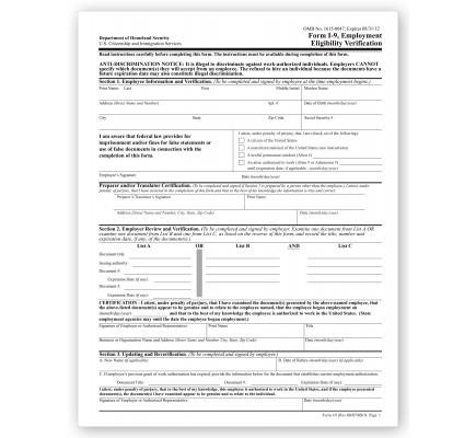 I 9 Tax Form Employment Eligibility Verification