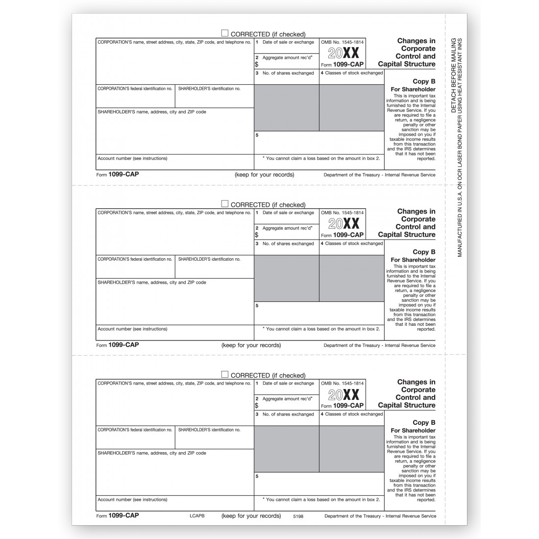 IRS Tax Forms 1099 CAP Shareholder Copy B