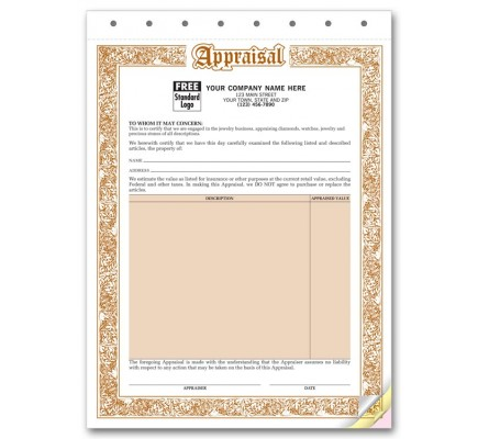 Jewelry Appraisal Forms